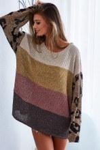Long leopard sleeve knit colorblock sweater