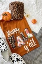 Short sleeve happy fall yall t shirt