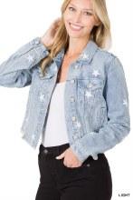 Star embroidered denim jacket with raw hem