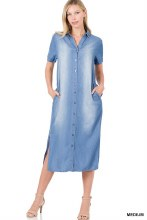 Long chambry denim dress with pockets and belt
