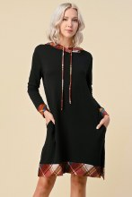 Long sleeve knit dress with plaid border detail and a hood