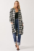 Western wear black and white check duster with pockets