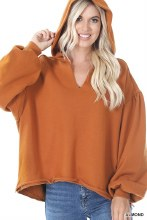 French terry oversized balloon sleeve high low hoodie almond