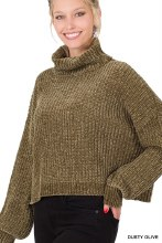 Chenille Balloon sleeve turtleneck cropped Olive