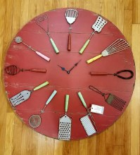 Large Red Utensil Clock