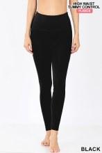 Black High waist fleece lined tummy control leggings