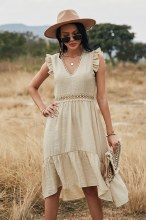 Beige V Neck Ruffle lace dress