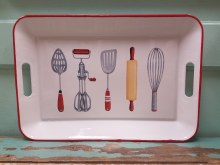 Enamel Tray With Vintage Utensils Pictured