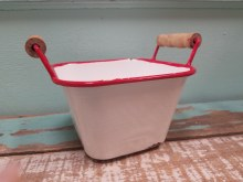 Red And White Metal Bucket