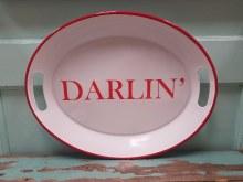 Darlin Red & White Enamel Tray