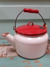Vintage Red & White Enamel Tea Pot with Wood Handle
