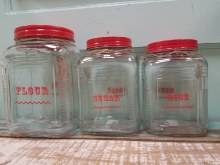 Glass Canister Red Lid Set