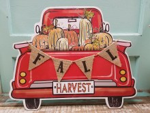 Red Truck Fall Harvest Sign