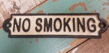 Cast Iron Black and White No Smoking Sign