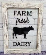 Farm Fresh Dairy Glass Window