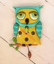 Blue Owl Clock with hanging Branch Pendulum