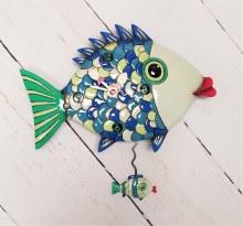 Fish Clock with hanging little fish pendulum