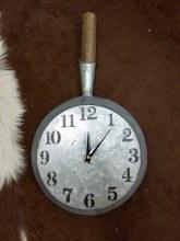 Galvanized Kitchen skillet clock