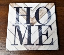 Home On Wood Coasters