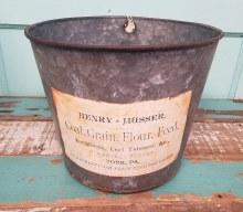 Vintage Metal Bucket Grain coal flour feed