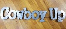 Cowboy Up Metal Block Sign
