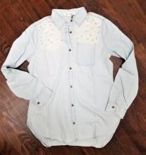 Pearl Light Jean Button Down Top