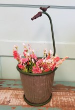Garden Hose Metal Planter with bird