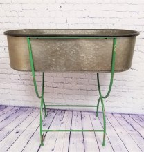 Zinc Trough With Green Stand