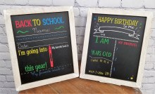 Double sided back to school and happy birthday  chalkboard