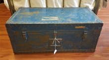 Vintage Blue Metal Trunk