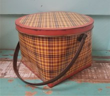 Large Plaid Metal Bucket
