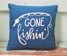 Gone Fishin Small Pillow