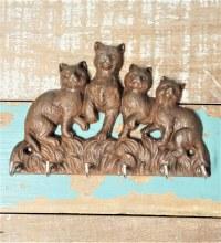 4 Cat Key Holder Cast Iron