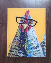 Chicken In Glasses Tin Sign
