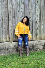 Mustard Crochet Balloon sleeve blouse