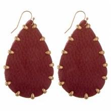 Burgundy Leather Earrings