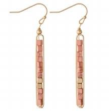 Coral Bead Dangle Earrings