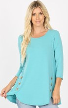 3/4 Sleeve With Round Neck And Wood Side Buttons. Dolphin Hem Top