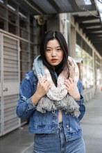 Blue Stripped Knit Scarf