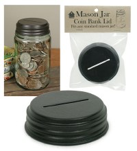 Coin Bank Top Mason Jar Black