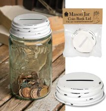 Coin Bank Top Mason Jar White