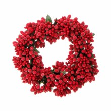 """6.5"""" Red Berry Candle Ring"""