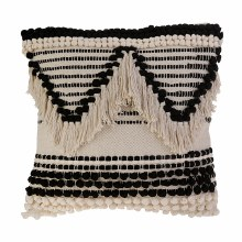 Black And Cream Macrame Pillow With Adorable PomPoms