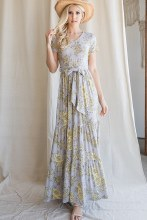 Long Floral Tiered Dress With Tie Waist.