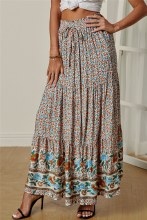 Floral Peasant Long Skirt With Drawstring Waist