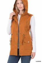Almond Utility Military style vest with hood and pockets