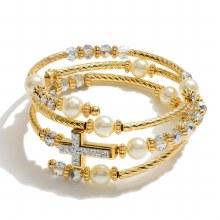Gold Coil Cross Bracelet