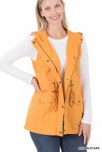 Mustard Utility Military style vest with hood and pockets