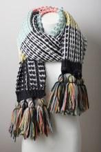 Navy Multi Stripe Knit Scarf