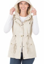 Beige Utility Military style vest with hood and pockets